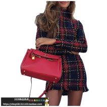 Dress Autumn of 2018 claret S,M,L,XL Short skirt singleton  Long sleeves street stand collar middle-waisted lattice Socket A-line skirt routine Others Type A 71% (inclusive) - 80% (inclusive) other polyester fiber Europe and America