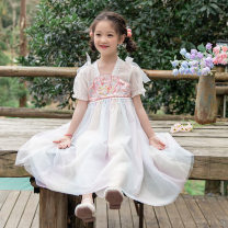 Dress white female Other / other 100cm,110cm,120cm,130cm,140cm,150cm Other polyester 95% 5% summer Korean version Short sleeve Solid color polyester fiber Princess Dress Class B Five, six, seven, eight, nine, ten, eleven, twelve
