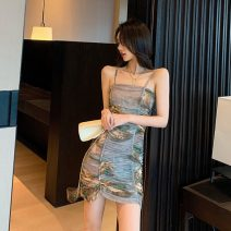 Dress Summer of 2019 Decor S,M,L Short skirt singleton  Sleeveless commute High waist One pace skirt camisole 18-24 years old Type H Other / other Retro seven point two six 30% and below