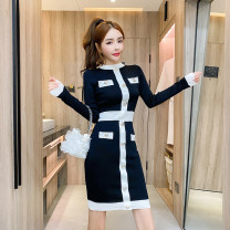 Dress Autumn 2020 Pink, black S,M,L Mid length dress singleton  Long sleeves commute Crew neck High waist routine 18-24 years old Type H Retro Button a8.9 30% and below knitting