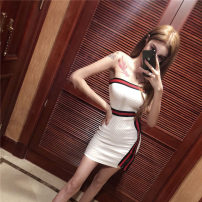 Dress Autumn of 2018 White, black Average size Mid length dress singleton  Sleeveless commute One word collar middle-waisted other One pace skirt other Breast wrapping 18-24 years old Other / other Korean version nylon