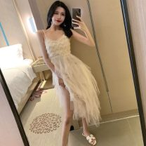 Dress Summer of 2019 Apricot S, M longuette singleton  Sleeveless Sweet High waist camisole 18-24 years old Other / other Gauze Seven point nine 30% and below