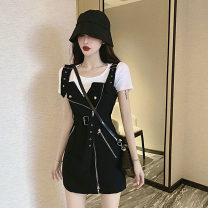 Dress Summer 2021 Black strap skirt, plaid strap skirt, white with black suit, black with plaid skirt suit S,M,L Short skirt Two piece set Short sleeve commute Crew neck High waist lattice zipper other Others 18-24 years old Type A Retro 71% (inclusive) - 80% (inclusive) cotton