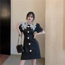 Dress Summer 2020 black S,M,L Short skirt singleton  Short sleeve commute 18-24 years old Type H Korean version
