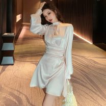 Dress Autumn of 2019 Light apricot S,M,L Short skirt singleton  Long sleeves commute High waist Solid color Irregular skirt 18-24 years old Type H Other / other Korean version Nine point five 30% and below