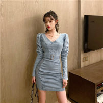 Dress Autumn of 2019 blue S, M Short skirt singleton  Long sleeves V-neck High waist Solid color Socket other other Others 18-24 years old x1.1