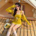 Dress Summer 2021 Yellow skirt, yellow cardigan S, M Short skirt commute High waist 18-24 years old Type H Retro 30% and below