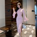 Dress Autumn of 2019 Blue, pink S,M,L longuette singleton  Long sleeves commute stand collar High waist Solid color zipper A-line skirt pagoda sleeve Others 18-24 years old Other / other Retro Asymmetry 31% (inclusive) - 50% (inclusive)