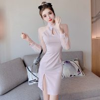 Dress Autumn 2020 Light pink S,M,L Short skirt singleton  Long sleeves commute stand collar middle-waisted Solid color zipper routine 18-24 years old Type H Korean version 91% (inclusive) - 95% (inclusive) polyester fiber