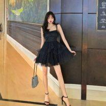 Dress Summer 2020 black S,M,L Short skirt singleton  commute High waist camisole 18-24 years old Korean version