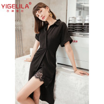 Dress Autumn 2020 black S,M,L Mid length dress singleton  Short sleeve commute other High waist Solid color zipper A-line skirt routine Others 25-29 years old Type A Yigelila lady 81% (inclusive) - 90% (inclusive) polyester fiber