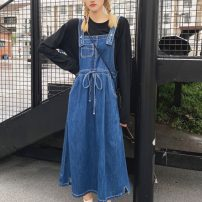 Women's large Autumn 2020 Cotton T, denim skirt L [recommended 100-120 kg], XL [recommended 120-140 kg], 2XL [recommended 140-160 kg], 3XL [recommended 160-180 kg], 4XL [recommended 180-200 kg] Dress Two piece set Sweet easy moderate Socket Long sleeves Solid color Crew neck routine Denim routine