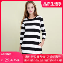 Dress Spring of 2018 white S M L Middle-skirt singleton  three quarter sleeve Sweet Crew neck middle-waisted stripe Socket One pace skirt other Others 25-29 years old Jando G61106 71% (inclusive) - 80% (inclusive) polyester fiber college
