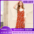Dress Autumn of 2019 Brick red S M L Mid length dress Two piece set elbow sleeve Sweet Crew neck middle-waisted Solid color Socket One pace skirt pagoda sleeve 25-29 years old Type A Jando G73106 More than 95% polyester fiber Polyester 100% Ruili