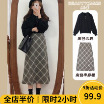 Women's large Autumn 2020 skirt Two piece set Sweet easy thickening Socket Short sleeve other other Three dimensional cutting puff sleeve 11-22C8501 Beauty mark 18-24 years old Gouhua hollow longuette Other polyester 95% 5% Pure e-commerce (online only) Irregular skirt shorts solar system