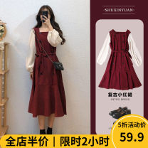 Women's large Autumn 2020 Red [popular / slightly fat girl's wear / tea break net red / Hepburn / Europe and America / first love design / big chest / small man / spring tide] Dress singleton  Sweet easy thickening Socket Long sleeves Solid color One word collar routine A10-27JWDM8838-AA- Beauty mark