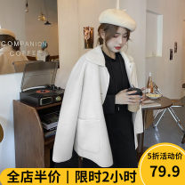 Women's large Winter 2020 Black skirt JH white coat JH suit JH Dress Two piece set Sweet easy thickening Cardigan Long sleeves Solid color Crew neck routine 11-20C8513 Beauty mark 18-24 years old Medium length Polyester 65% cotton 35% Pure e-commerce (online only) solar system