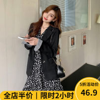 Women's large Autumn 2020 Dress JH coat JH coat + dress JH Dress Two piece set Sweet easy thickening Cardigan Long sleeves Broken flowers square neck routine routine 10-30C8563- Beauty mark 18-24 years old longuette Polyester 100% Pure e-commerce (online only) Irregular skirt solar system