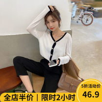 Women's large Autumn 2020 White top (one piece) Dress singleton  Sweet easy thickening Cardigan Long sleeves Solid color V-neck puff sleeve 9-2AX175-1 Beauty mark 18-24 years old longuette Polyester 89% polyamide 11% Pure e-commerce (online only) Irregular skirt solar system