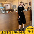 Women's large Spring 2021 Black JH [explosive money / chubby girl wear / tea break net red / Hepburn / Europe / salt / sweet / big chest / small / sweet / temperament / spring and autumn tide] Dress singleton  Sweet easy moderate Socket Long sleeves Solid color square neck routine Beauty mark