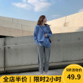 Women's large Autumn 2020 Black trousers (single piece) grey trousers (single piece) green sweater (single piece) blue sweater (single piece) green sweater + black trousers (suit) blue sweater + grey trousers (suit) Dress Two piece set Sweet easy thickening Socket Long sleeves Crew neck routine