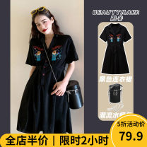 Women's large Autumn 2020 Black [pop / fat girl wear / tea break red / Hepburn / Europe / salt / sweet / big chest / little / sweet / temperament / spring and autumn tide] skirt singleton  Sweet easy thickening Short sleeve other square neck Three dimensional cutting puff sleeve A4-1MMJ21234-A
