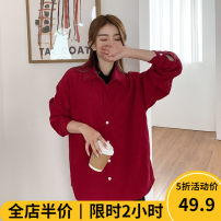 Women's large Spring 2021 Red JH [explosive money / chubby girl wear / tea break net red / Hepburn / Europe / salt / sweet / big chest / small / sweet / temperament / spring and autumn tide] shirt singleton  Sweet easy moderate Socket Long sleeves Solid color Polo collar routine routine Beauty mark