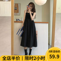 Women's large Summer 2021 Black [pop / fat girl wear / tea break red / Hepburn / Europe / salt / sweet / big chest / little / sweet / temperament / spring and autumn tide] Dress singleton  commute easy moderate Socket Sleeveless Solid color Korean version One word collar 3-30CS0284 Beauty mark other
