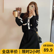 Women's large Winter 2020 Black suit JH Dress Two piece set Sweet easy thickening Cardigan Long sleeves V-neck routine routine 11-21C8727 Beauty mark 18-24 years old Short skirt Polyester 42% viscose 40% polyamide 18% Pure e-commerce (online only) solar system