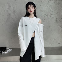 T-shirt White, black S,M,L,XL,2XL Spring 2021 Long sleeves Crew neck easy Medium length routine commute polyester fiber 86% (inclusive) -95% (inclusive) 18-24 years old Korean version youth Ha ha zipper