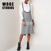 Dress Autumn of 2018 Check pattern 1,2,3 Mid length dress singleton  Sleeveless commute Loose waist lattice Socket Irregular skirt straps Type A Print, button, stitching 71% (inclusive) - 80% (inclusive) polyester fiber