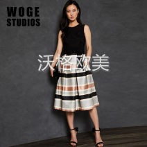 Dress Autumn of 2019 black 0,1,2,3,4,5 Mid length dress singleton  Sleeveless commute Crew neck High waist stripe Socket A-line skirt Others Type A Bowknot, hollowed out, pleated, embroidered, crocheted, hollowed out, stitched, lace up, zipper, printed ROWWAN 91% (inclusive) - 95% (inclusive) Lace