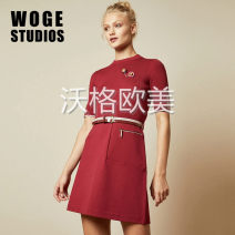 Dress Winter of 2019 gules 0,1,2,3,4,5 Short skirt singleton  Short sleeve commute Crew neck High waist Solid color Socket A-line skirt routine Others Type A 51% (inclusive) - 70% (inclusive) knitting other