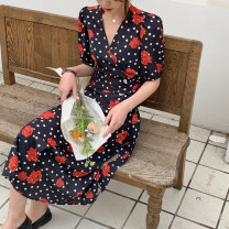 Dress Summer 2021 French Black Print S,M,L Mid length dress singleton  Short sleeve commute V-neck High waist Decor Single breasted One pace skirt puff sleeve Breast wrapping Type A Retro Print, lace up, ruffle, fold