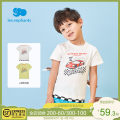 T-shirt White light mustard yellow Les enfants 80cm / 1 years old (with shoulder buckle) 90cm / 2 years old (with shoulder buckle) 100cm / 3 years old (with shoulder buckle) 110cm / 4 years old 120cm / 6 years old 130cm / 8 years old male summer Short sleeve Crew neck college nothing cotton