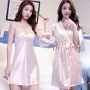 Pajamas / housewear set female Other / other S,M,L,XL,XXL other Sleeveless sexy pajamas summer Thin money V-neck Solid color Tether youth 2 pieces More than 95% silk lace 200g and below Middle-skirt