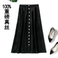 skirt Winter 2020 M,L,XL,2XL Mid length dress street High waist A-line skirt Solid color Type A 35-39 years old More than 95% silk Europe and America