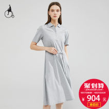 Dress Summer 2020 Grey Navy 160/84A 165/88A 170/92A Middle-skirt 25-29 years old BEAN POLE BF0471X08 More than 95% cotton Cotton 100% Same model in shopping mall (sold online and offline)