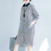 shirt Blue and white stripes S,M,L,XL,2XL Autumn 2020 cotton 81% (inclusive) - 90% (inclusive) Long sleeves commute Medium length Polo collar Single row multi button routine stripe Straight cylinder Korean version Stitching, pockets, asymmetry, buttons