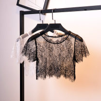 Lace / Chiffon Summer of 2019 White, black Short sleeve commute Socket singleton  easy Super short Crew neck Solid color routine Korean version 96% and above nylon