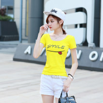 T-shirt Black, white, yellow, pink S,M,L,XL,2XL Summer 2020 Short sleeve Crew neck Self cultivation Regular routine Sweet cotton 86% (inclusive) -95% (inclusive) 25-29 years old youth letter Qiancaiyunshang A125 Print, open back princess