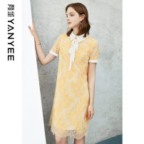 Dress Summer 2021 Huanghua [delivery within 30 days after pre-sale] S M L XL XXL Middle-skirt singleton  Short sleeve commute middle-waisted Decor Socket other routine Others 35-39 years old Type H Yan Yu Ol style Lace 20S1I0088 51% (inclusive) - 70% (inclusive) cotton