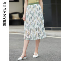 skirt Summer 2021 S M L XL Green flower Mid length dress commute High waist Pleated skirt Decor Type A 35-39 years old IOS922I More than 95% Chiffon Yan Yu polyester fiber printing lady Polyester 100%
