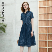 Dress Summer 2021 Blue flower [delivery within 30 days after pre-sale] S M L XL XXL Mid length dress singleton  Short sleeve commute middle-waisted Decor Socket other routine Others 35-39 years old Type X Yan Yu Ol style 20S1I0086 More than 95% polyester fiber Polyester 100%