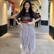skirt Summer of 2019 Average size Black, gray Mid length dress gorgeous High waist Fluffy skirt Solid color Type A 18-24 years old 91% (inclusive) - 95% (inclusive) Chiffon polyester fiber