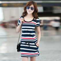 Dress Summer of 2018 Blue white red stripe [short sleeve], black white stripe [short sleeve], red white stripe [short sleeve] S,M,L,XL,2XL,3XL,4XL Short skirt singleton  Short sleeve commute Crew neck middle-waisted stripe Socket A-line skirt routine Others 25-29 years old Type X AI yiku knitting