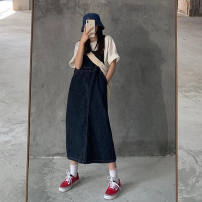 Women's large Winter 2020 Dark blue, pre-sale random vest S,M,L,XL Dress singleton  commute easy Conjoined Sleeveless Solid color Korean version One word collar cotton Three dimensional cutting 18-24 years old pocket 71% (inclusive) - 80% (inclusive) Medium length trousers Cotton 71% - 80%