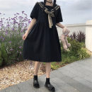 Dress Summer 2021 Black, random pre-sale t S,M,L,XL longuette singleton  Short sleeve commute Crew neck High waist Solid color Socket A-line skirt routine 18-24 years old Type A Korean version Splicing More than 95% cotton