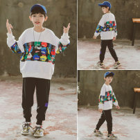 suit Babybody White blue 120cm 130cm 140cm 150cm 160cm 170cm male spring and autumn Korean version Long sleeve + pants 2 pieces Thin money There are models in the real shooting Socket No detachable cap other other children Giving presents at school C21030 Class B Other 100% Spring 2021 Huzhou City