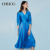 Dress Summer 2021 Sky blue 155/XS/34 160/S/36 165/M/38 170/L/40 175/XL/42 Mid length dress singleton  Short sleeve commute V-neck middle-waisted other A-line skirt other 30-34 years old Type A Obeg / ou Biqian Ol style fold More than 95% other polyester fiber Polyester 100%